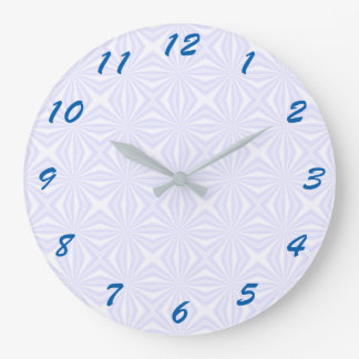 White Squiggly Squares Large Clock