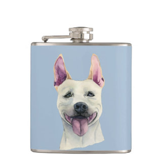White Staffordshire Bull Terrier Dog Watercolor Hip Flask
