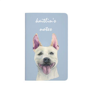 White Staffordshire Bull Terrier Dog Watercolor Journal