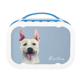 White Staffordshire Bull Terrier Dog Watercolor Lunch Box