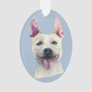 White Staffordshire Bull Terrier Dog Watercolor Ornament