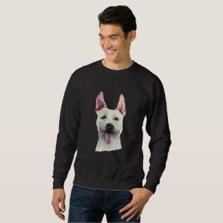 White Staffordshire Bull Terrier Dog Watercolor Sweatshirt