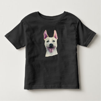 White Staffordshire Bull Terrier Dog Watercolor Toddler T-Shirt