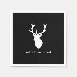 White Stag Head with Antlers Disposable Serviettes