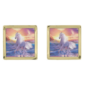 White Stallion Cufflinks Gold Finish Cufflinks