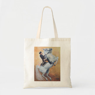 White Stallion  performs with Dressage Rider Tote Bag