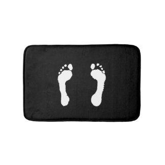 White-Stamped Footprints (Black) Bath Mats