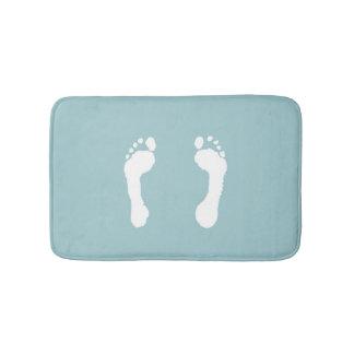 White-Stamped Footprints (Blue) Bath Mat