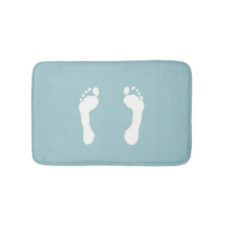 White-Stamped Footprints (Blue) Bath Mats