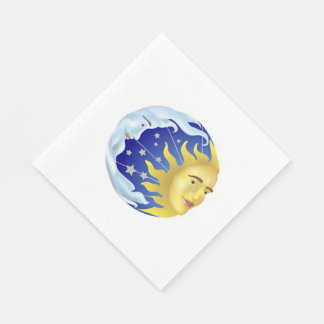 White Standard Luncheon Napkin/Sun, Moon and Stars Disposable Serviettes