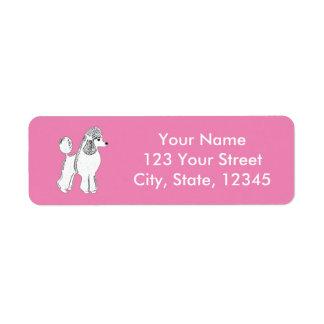 White Standard Poodle Pink Return Address Labels