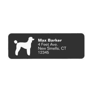 White Standard Poodle Silhouette (Lamb Cut) Return Address Label