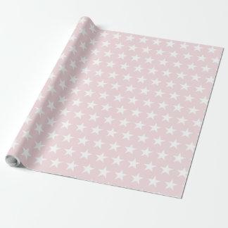 White Star Blush Pink Modern Elegant Design Trendy Wrapping Paper