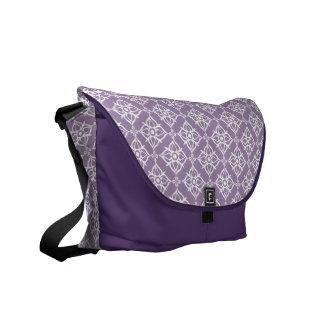 White Star Damask on East Side Violet Commuter Bags