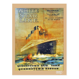White Star Line Titanic & Olympic ad Postcard