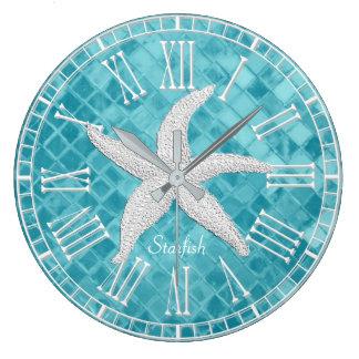 White Starfish Aqua Sea Glass Personailize Large Clock