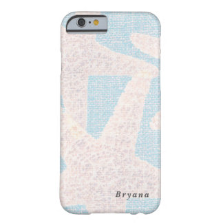 White Starfish & Blue Burlap Beach Personalized Barely There iPhone 6 Case