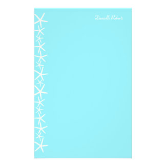 White Starfish Border Personalized Stationery