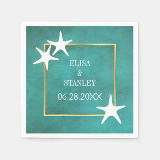 White starfish on teal stained beach wedding disposable serviette