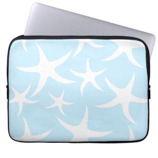 White Starfish Pattern on Light Blue. Computer Sleeve