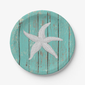 White Starfish Your Color Wood Personalize Paper Plate