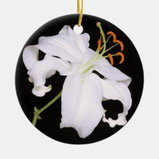 White Stargazer Lily Round Ceramic Decoration