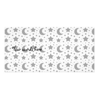 white stars and moon patterns picture card