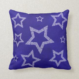 White Stars Blue Accent Cushion