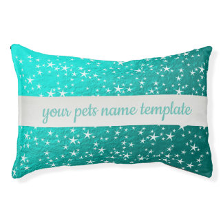 white stars in mint dog bed