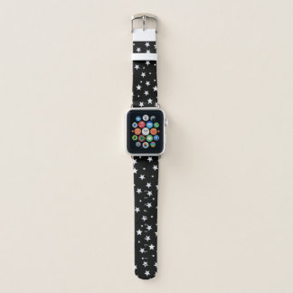 White Stars on Black Apple Watch Band