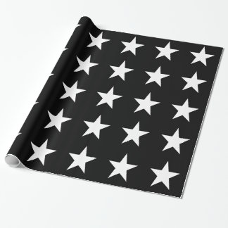 White Stars on Black Wrapping Paper