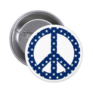 White Stars on Blue Peace Symbol 6 Cm Round Badge
