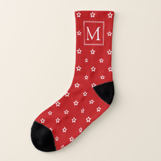 White Stars on Bright Red Monogrammed 1
