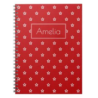 White Stars on Bright Red Notebooks