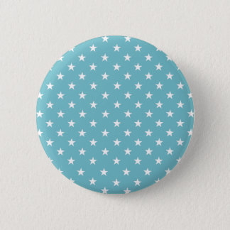 White Stars On Calmest Curacao Blue. Fashionable 6 Cm Round Badge