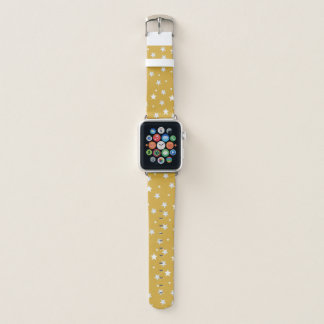 White Stars on Color Gold Apple Watch Band