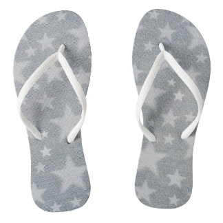 White stars on faded denim look thongs