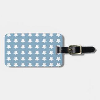 White Stars On Grey Blue Luggage Tag