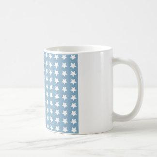 White Stars On Grey Blue Mugs