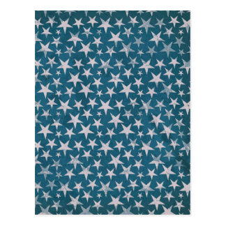 White stars on grunge textured blue greeting card