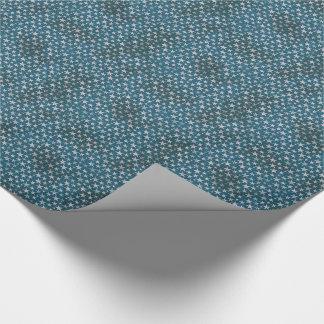 White stars on grunge textured blue tiled paper