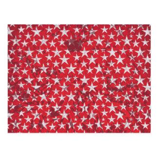 White stars on grunge textured red greeting card