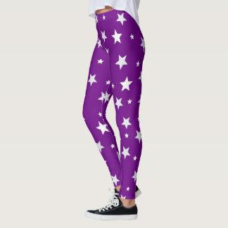 White Stars on Purple Leggings