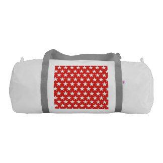 White stars on red background gym bag