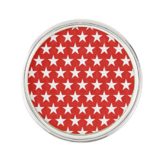 White stars on red background lapel pin