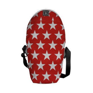 White stars on red background messenger bags