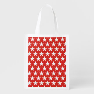 White stars on red background reusable grocery bag