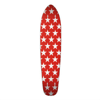 White stars on red background skateboard deck