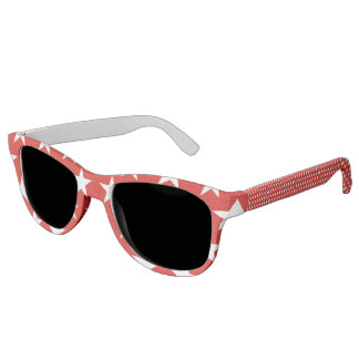 White stars on red background sunglasses
