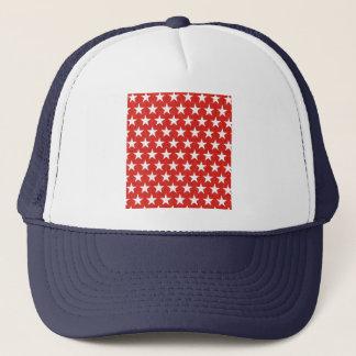 White stars on red background trucker hat